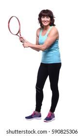Healthy woman with a tennisracket