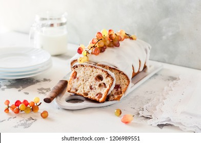 Healthy Yogurt and Oat Loaf Cake with Fresh Grapes, copy space for your text
