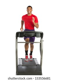 Healthy Young African American Running in Treadmill Isolated on White Background