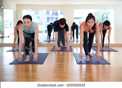 Healthy young asian woman Yoga Group of People Relaxing and Doing Yoga. Child's Pose. Wellness and Healthy Lifestyle concept.