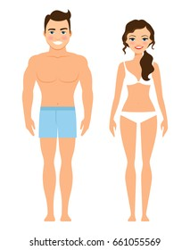 Healthy young man and woman . Human male and female body isolated on white background