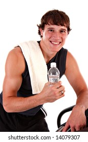 Healthy Young Man Workout on Treadmill Isolated