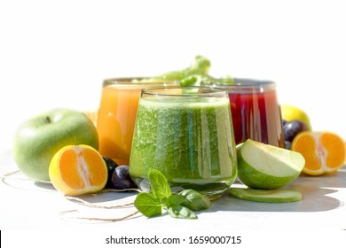Healty beverage,(drink), green smoothie, orange juice - smothie and grape juice