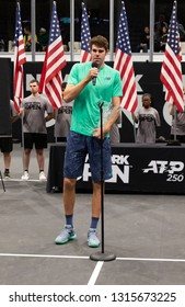 Heampstead, NY - February 17, 2019: Reilly Opelka of USA speaks after defeating Brayden Schnur of Canada at final of New York Open ATP 250 tournament at Nassau Coliseum