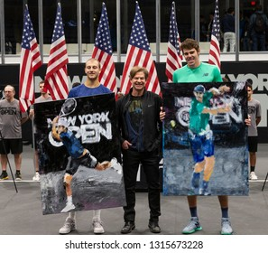 Heampstead, NY - February 17, 2019: Winner Reilly Opelka of USA and Brayden Schnur of Canada receive portraits by Ted Dimond after final of New York Open ATP 250 tournament at Nassau Coliseum