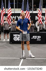 Heampstead, NY - February 17, 2019: Brayden Schnur of Canada emotional speach after loosing to Reilly Opelka of USA at final of New York Open ATP 250 tournament at Nassau Coliseum