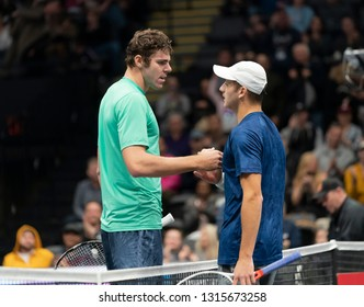 Heampstead, NY - February 17, 2019: Reilly Opelka of USA and Brayden Schnur of Canada greet after final of New York Open ATP 250 tournament at Nassau Coliseum