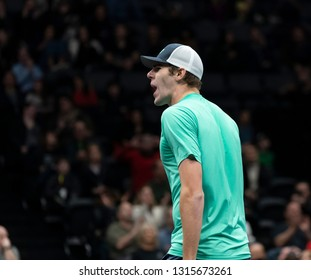 Heampstead, NY - February 17, 2019: Reilly Opelka of USA reacts during final of New York Open ATP 250 tournament against Brayden Schnur of Canada at Nassau Coliseum