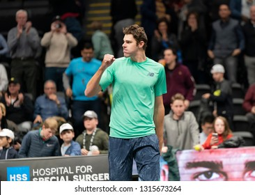 Heampstead, NY - February 17, 2019: Reilly Opelka of USA reacts after defeating Brayden Schnur of Canada at final of New York Open ATP 250 tournament at Nassau Coliseum