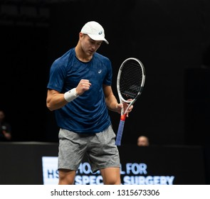 Heampstead, NY - February 17, 2019: Brayden Schnur of Canada reacts during final of New York Open ATP 250 tournament against Reilly Opelka of USA at Nassau Coliseum