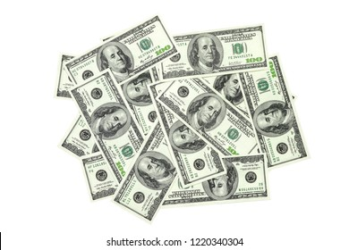 Heap of 100 dollars banknotes isolated on white background. Money concept. High resolution