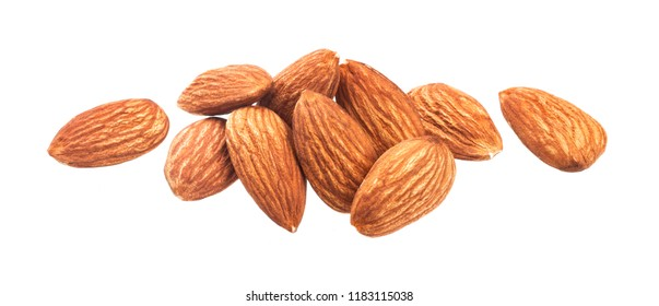 Heap of almond nuts isolated on a white background with clipping path