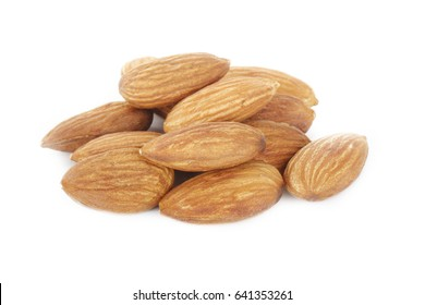 heap of almonds isolated
