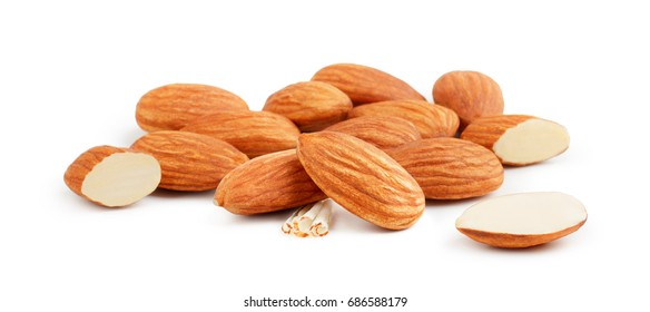 Heap of almonds isolated on white