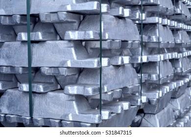 heap of aluminium bar, Aluminum ingots in steel in factory