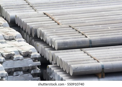 heap of aluminium bar, Aluminum ingots in steel factory