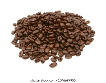 Heap of aromatic coffee beans, on a white background