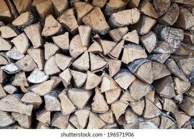 The heap of birchen logs as background