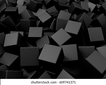 Heap of Black Metal Cubes Abstract Background. 3D Rendering