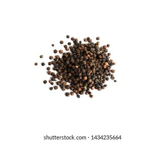 Heap of black peppercorns isolated on white, top view