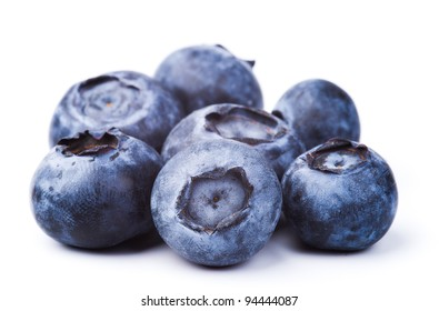 heap of blueberries isolated on white