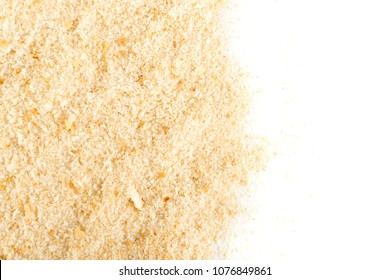 Heap of Bread Crumbs Isolated Top View. Crushed Rusk Bread Crumbs or Panko Isolated