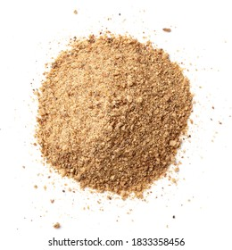 Heap of breadcrumbs isolated on white background, top view