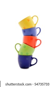 heap of bright tea cups