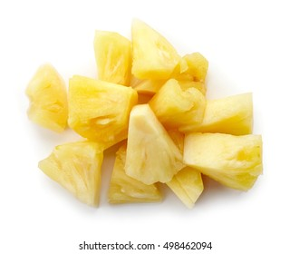 Heap of canned pineapple chunks isolated on white background, top view