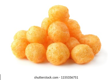 Heap of cheese puff balls isolated on white