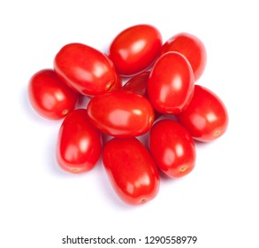 Heap of cherry tomatoes isolated on white background
