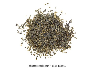 Heap of Chinese green tea, top view.