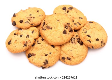 Heap of chocolate chip cookies on white background. Closeup.
