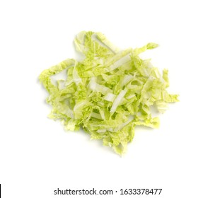 Heap of Chopped Chinese Cabbage, Napa Cabbage or Wombok Isolated on White Background. Fresh Green Sliced Cabbage Salat Top View