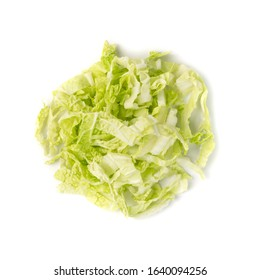Heap of Chopped Chinese Cabbage, Napa Cabbage or Wombok Isolated on White Background. Fresh Green Sliced Cabbage Salat