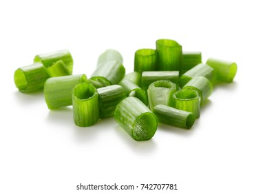 heap of chopped green onion isolated on white background