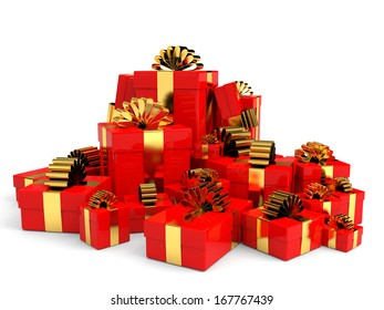 Heap of christmas gift boxes with bow. 3D illustration.