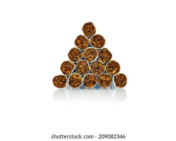 heap cigarette with shadow isolated on white background