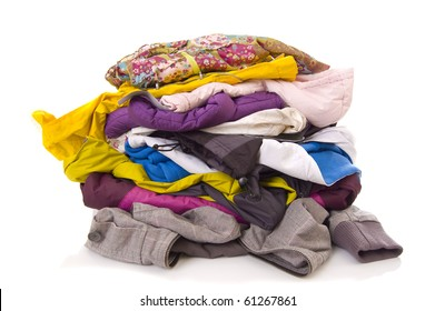 Heap of clothes on white background