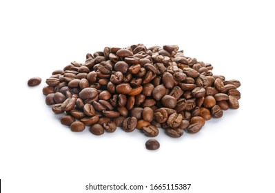 Heap of coffee beans on white background