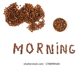 """heap of coffee beans on a white background, the word """"morning"""" from coffee beans, coffee beans"""
