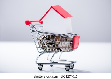 Heap Of Coins And House Model Inside The Miniature Shopping Trolley Over The White Background