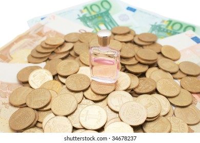 Heap of coins and monetary denominations