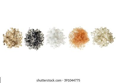 Heap of colorful bath salts on white background