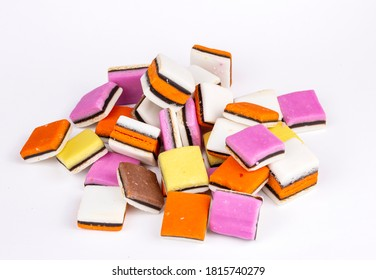 Heap of colorful Liquorice all sorts isolated on white background