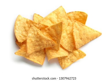 heap of corn chips nachos isolated on white background, top view