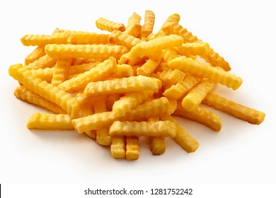 Heap of crispy golden crinkle cut potato chips or Pommes Frites on a white background for a menu