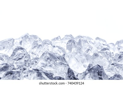 Heap of crushed ice on white background, front view