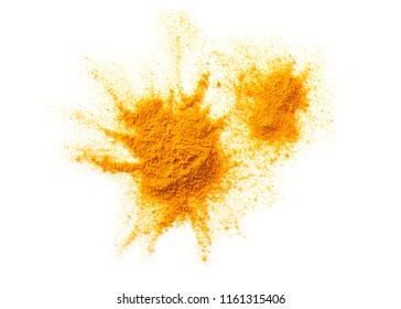 heap of curcuma turmeric spice erratic form isolated on white background