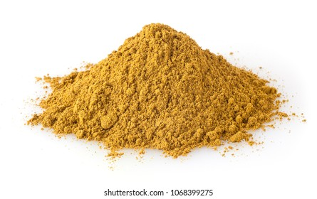 Heap of curry powder isolated on white background